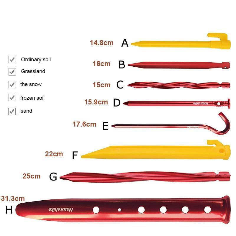 Tent Nails for Outdoor Camping Hiking and Camping Camping tools Hiking Accessories Accessories Camping accessories cb5feb1b7314637725a2e7: 4pcs Type F|4pcs Type G|4pcs Type H|6pcs Type A|6pcs Type D|6pcs Type E|8pcs Type B|8pcs Type C