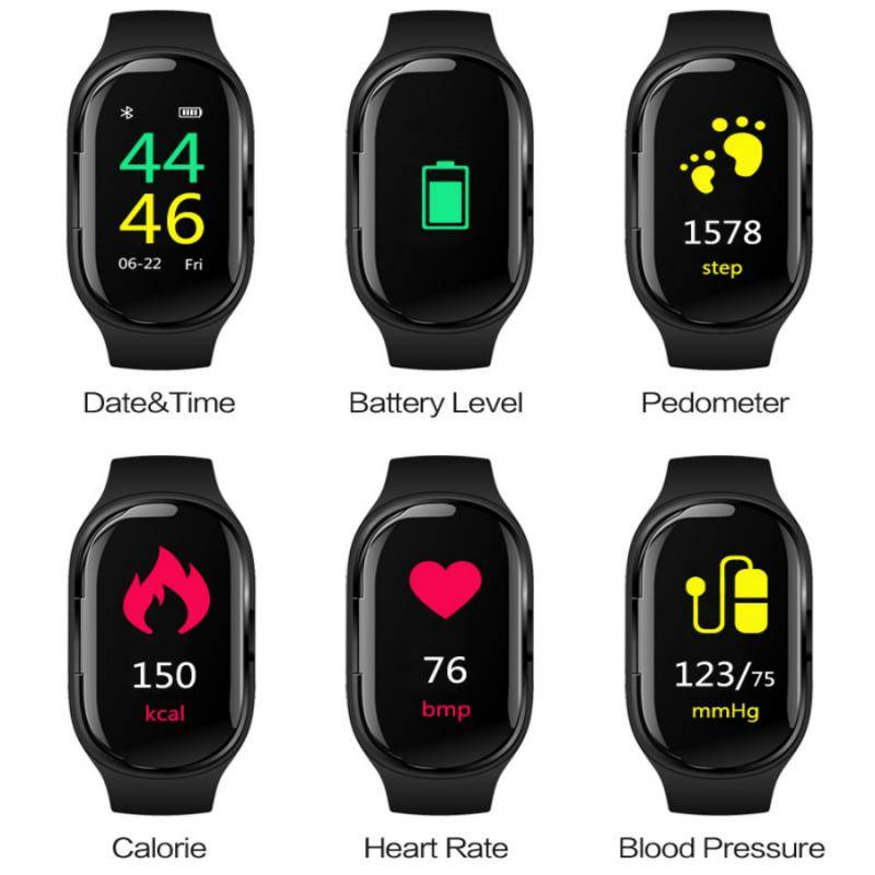 0.96TFT Color Screen 2 In 1 AI Smart Watch With Bluetooth Earphone Heart Rate Monitor Smart Bracelet Long Standby Sport Watch Accessories