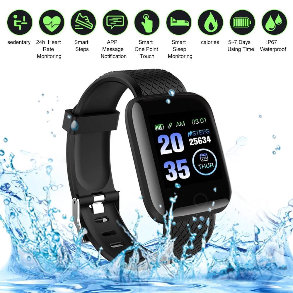 116Plus Smart Bracelet Intelligent Watch Fitness Tracker Step Counter Heart Rate Monitor Sport Smart Wristband Watch Smart Band Electronic Gadgets Accessories
