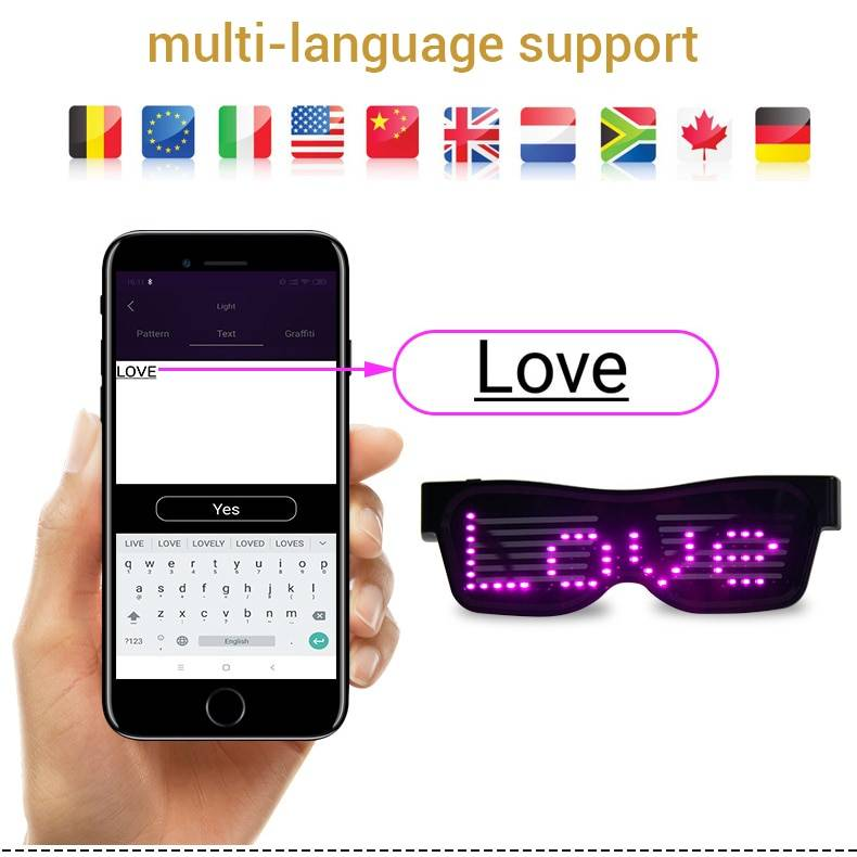 Magic Bluetooth LED Party Glasses APP Control Luminous Glasses EMD DJ Electric Syllables Glow Party Supplies Drop Shipping