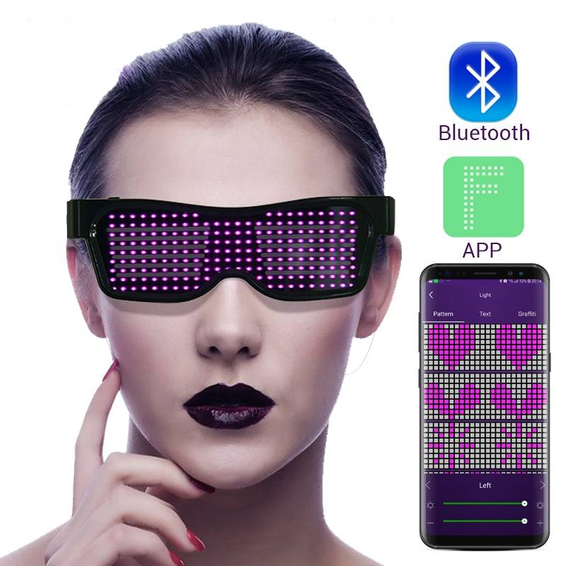 Magic Bluetooth LED Party Glasses APP Control Luminous Glasses EMD DJ Electric Syllables Glow Party Supplies Drop Shipping Accessories