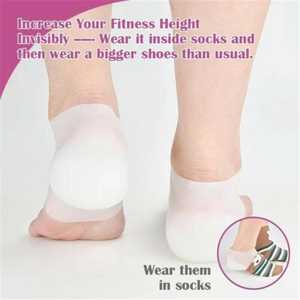 Silicone Invisible Inner Height Insoles Lifting Increase Socks Outdoor Foot Protection Pad Men Women Heel Cushion Hidden Insole