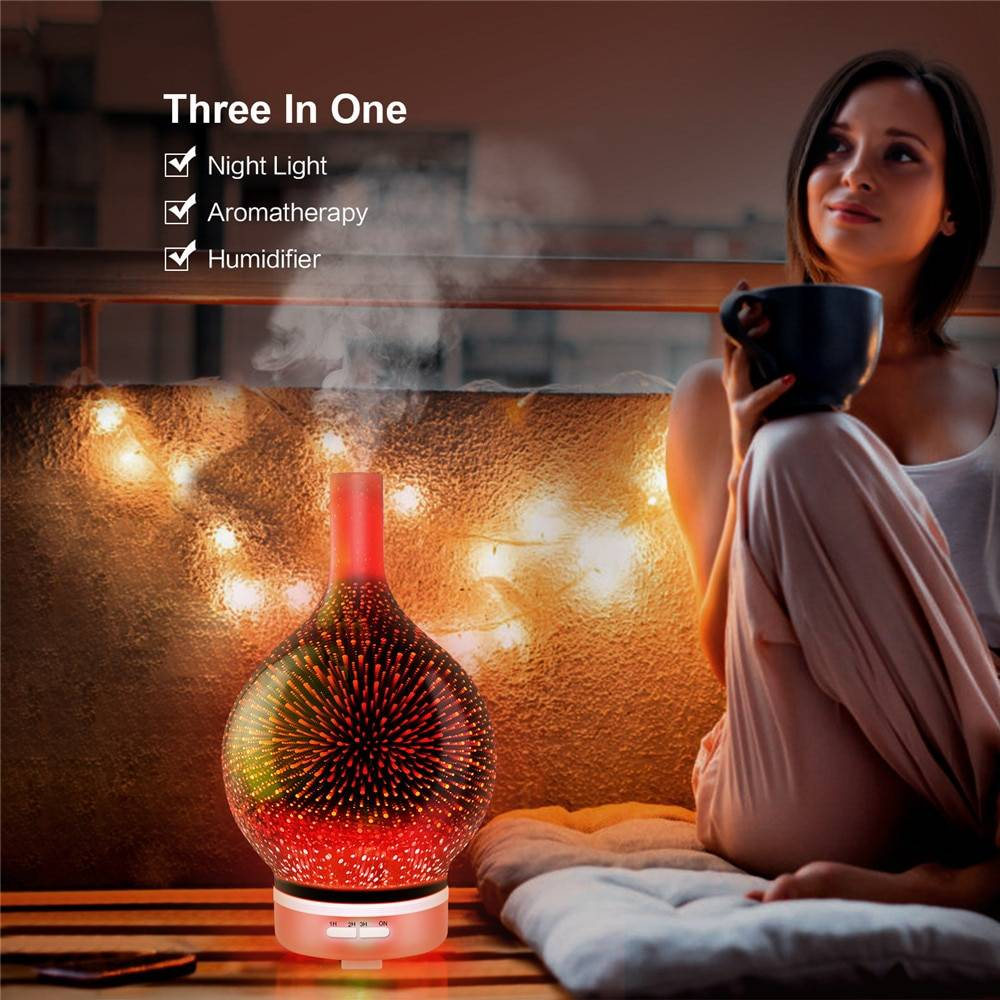 120ml 3d Firework Glass Electric Humidifier Essential Aroma Oil Diffuser Ultrasonic Aroma Diffuser Romantic Atmosphere Light Home Goods Electronic Gadgets