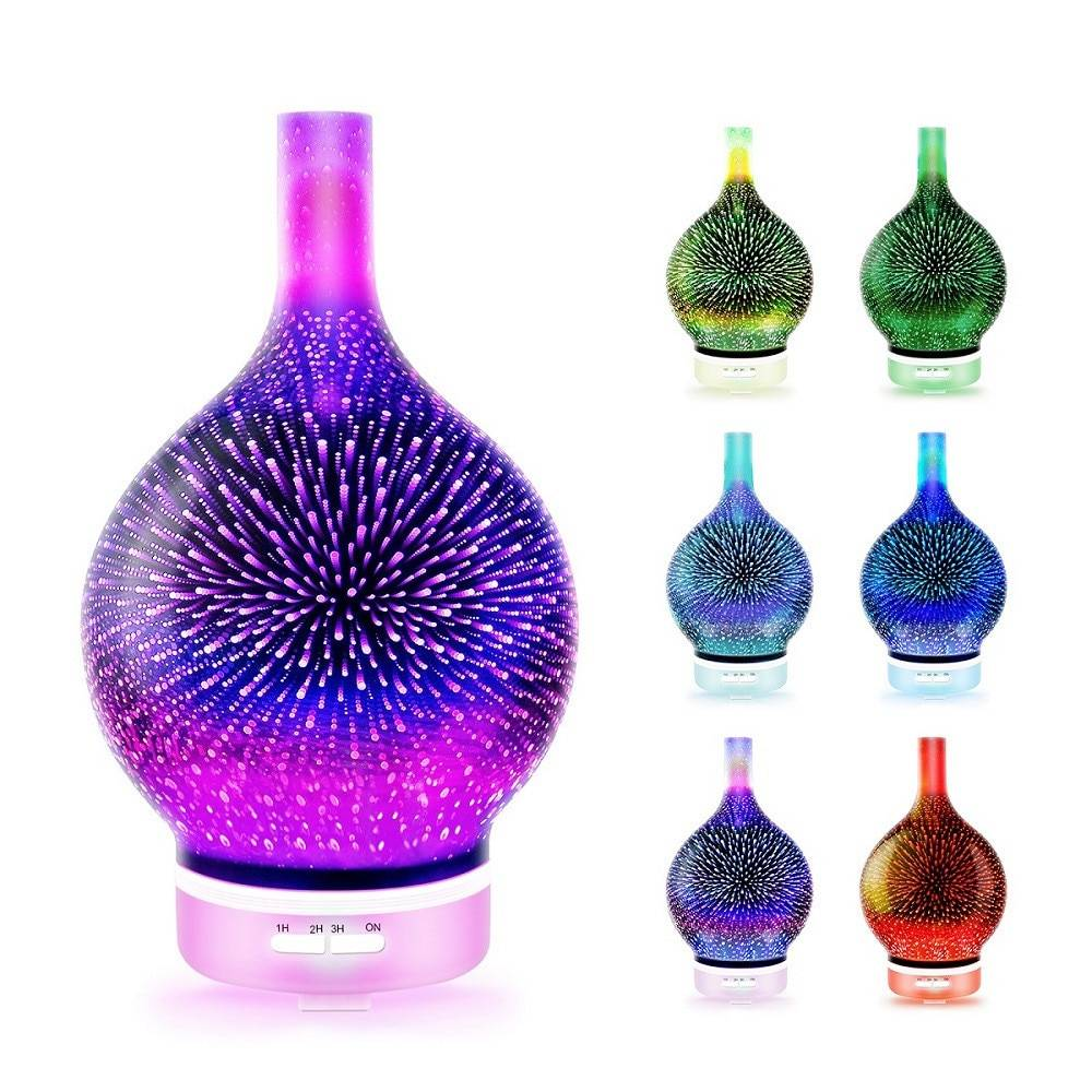 120ml 3d Firework Glass Electric Humidifier Essential Aroma Oil Diffuser Ultrasonic Aroma Diffuser Romantic Atmosphere Light