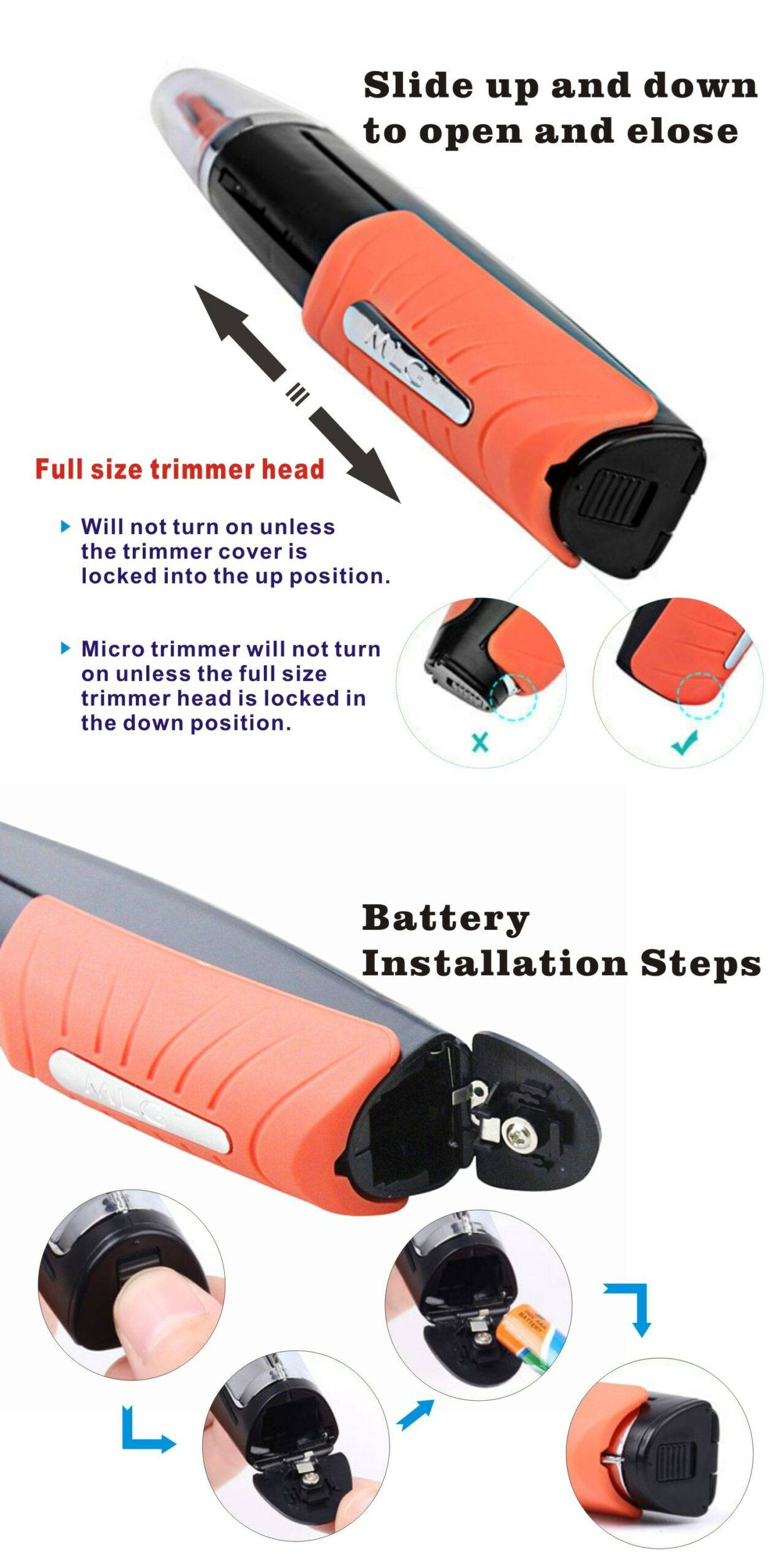 Multi-function Portable Shaver LED Light Beard Trimmer for Eyebrow Hair Body Eyebrow Ear Nose Trimmer Removal Face Care