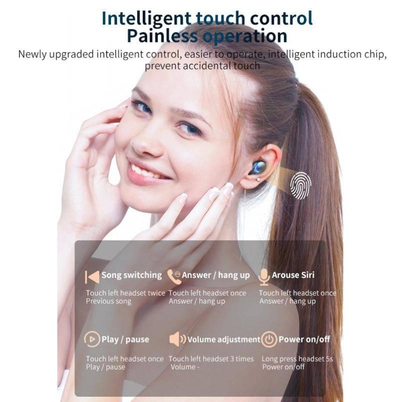 Wireless Headphones TWS Bluetooth 5.0 9D Stereo Wireless Earphones Sports Waterproof Headsets Mini Earbuds 2200mAh Charging Box