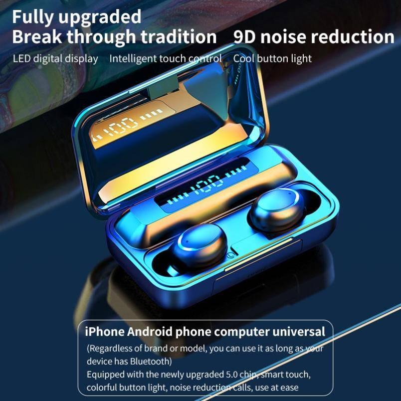 Wireless Headphones TWS Bluetooth 5.0 9D Stereo Wireless Earphones Sports Waterproof Headsets Mini Earbuds 2200mAh Charging Box Electronic Gadgets