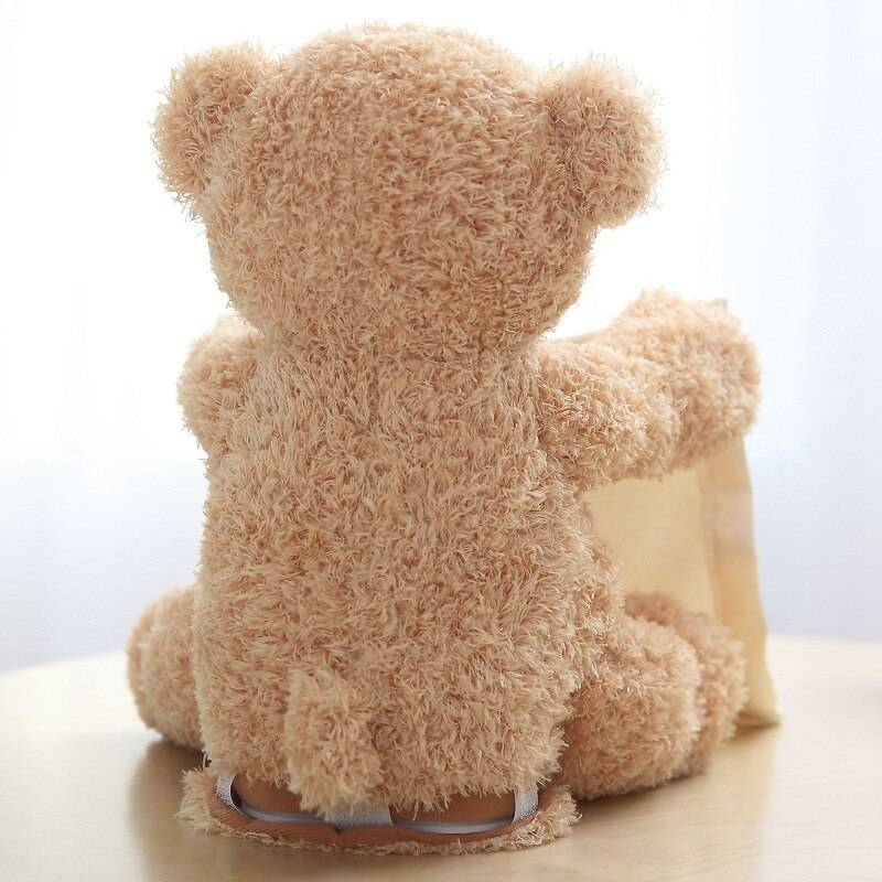 30cm Peek a Boo Teddy Bear Play Hide Seek Lovely Cartoon Stuffed Kids Birthday Xmas Gift Cute Electric Music Bear Plush Toy New